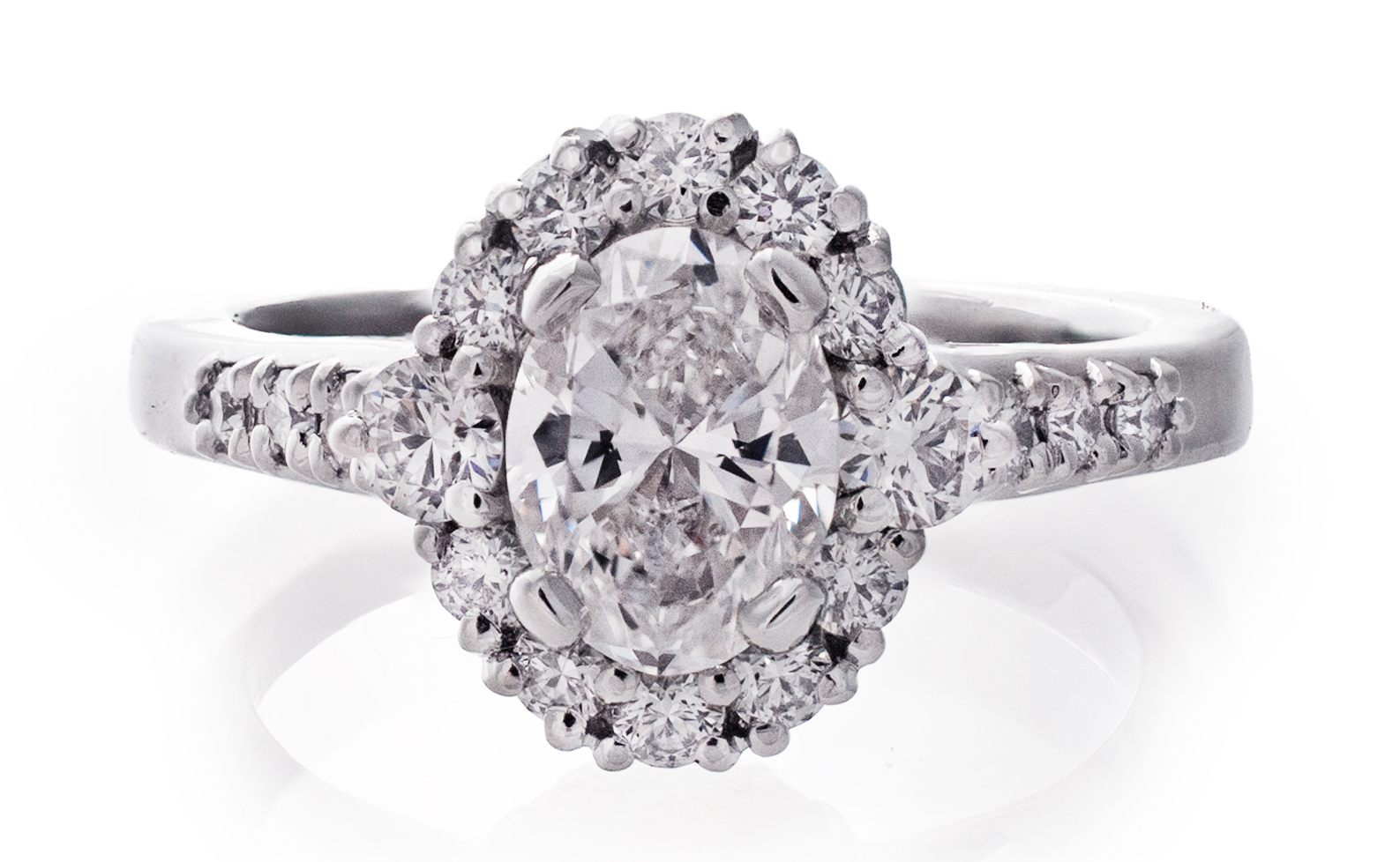 Cathedral Oval Halo Diamond Engagement Ring
